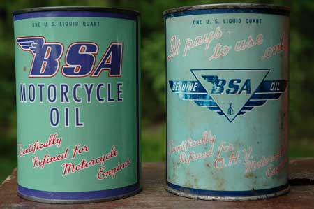 BSA Oil Cans, front